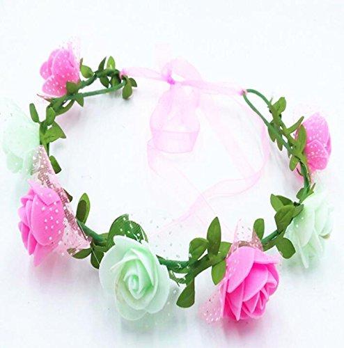 Sun Glower Ghirlanda Floreale Artificiale Fatta a Mano con Fiore Rosa a Forma di Fiocco con Ribbon_Pink + Verde