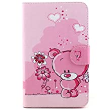 Case for Galaxy Tab 3 Lite 7.0 ,Flip Case Stand Leather Folio Cover for Samsung Galaxy Tab 3 Lite 7.0 Inch SM-T110 / T111 Tablet Case Protective Skin Slim Shell,Pink bear