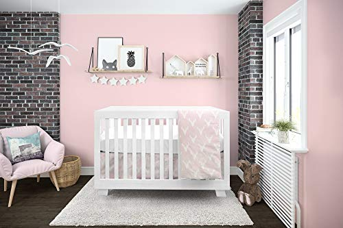 BOOBEYEH & DESIGN Baby Crib Bedding 4 Piece Set, Pink Antlers Design, Includes Fitted Sheet, Crib Comforter, Comforter Cover, Skirt, Perfect for Baby Girls