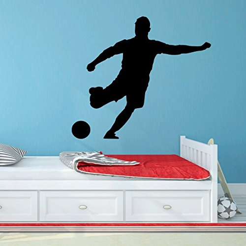 Player Wall Decal - Soccer Player Wall Decal - Personalized Sports - Vinyl Sticker Art For Boy's Bedroom or Playroom Decoration