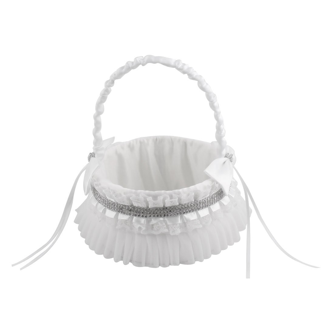 uxcell Satin Wedding Bowknots Faux Diamond Decor Petals Storage Flower Girl Carry Basket White by uxcell