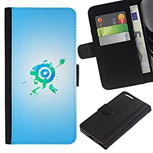 UberTech / Apple Iphone 6 PLUS 5.5 / Bright Bullseye Target Green Blue / Cuero PU Delgado caso Billetera cubierta Shell Armor Funda Case Cover Wallet Credit Card