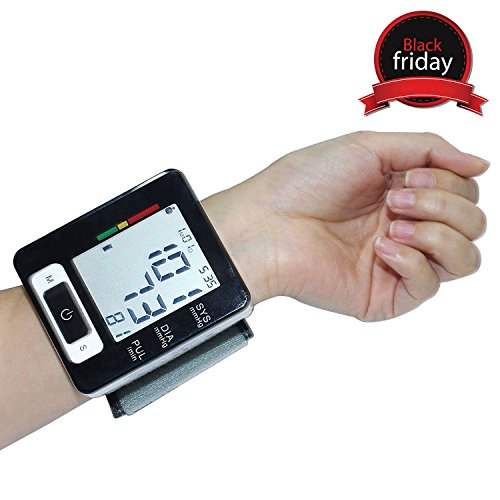 Wrist Blood Pressure Monitor, Euph Digital BP Monitor with Memory Storage, Intelligent LCD Display Automatically Measure Pulse Diastolic Systolic and Shows Hypertension level
