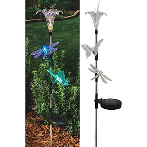 Solaris Solar Flower/Insect Trio Stake Light Lawn Ornament by Alpine