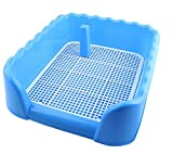 Indoor Dog Puppy Plastic Potty Training Dog Toilet with Fence and Target Pet Pee Toilet (L, Blue)
