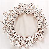 """Cotton Wreath - 23""""- 29"""" Adjustable Stems (As More As 110 Cotton Bolls per Wreath) Made from Real Natural White Cotton Flowers Bolls for Front Door Festival Hanging Decorations Welcome Decor"""