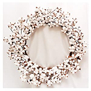 "Cotton Wreath - 23""- 29"" Adjustable Stems (As More As 110 Cotton Bolls per Wreath) Made from Real Natural White Cotton Flowers Bolls for Front Door Festival Hanging Decorations Welcome Decor 97"