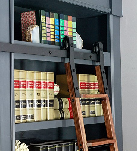 Library Ladder (DIYHD 6FT Rustic Black Sliding Library Ladder Hardware(No ladder))