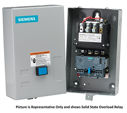 Siemens 14CUD32BA Heavy Duty Motor Starter, Solid State Overload, Auto/Manual Reset, Open Type, NEMA 1 General Purpose Enclosure, 3 Phase, 3 Pole, 0 NEMA Size, 5.5-22A Amp Range, A1 Frame Size, 110-120/220-240 at 60Hz Coil Voltage by Siemens (Image #1)