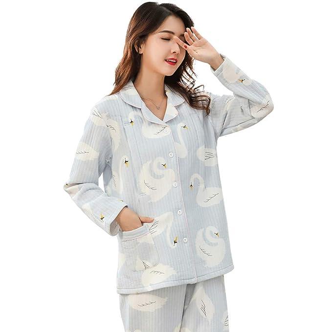 HONGNA Nuevos Pijamas De Invierno De Mujeres Embarazadas Pijamas De Algodón Ligeros Pijamas Cálidos para El Hogar (Color : Azul, Tamaño : XL): Amazon.es: ...