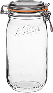 Le Parfait Super Jar - 1.5L French Glass Canning Jar w/Round Body, Airtight Rubber Seal & Glass Lid, 48oz/Quart & Half (Single Jar) Stainless Wire