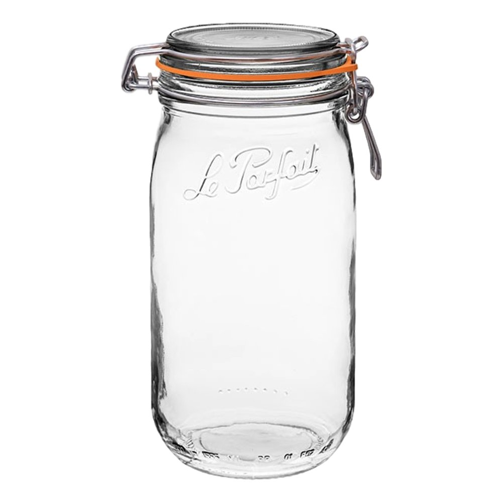 3 Le Parfait Super Jars - New Stainless Steel Wire - Wide Mouth French Glass Preserving Jars with Rounded Bodies, Glass Lids and Natural Rubber Seals - Zero Waste Packaging (3, 1500ml - 48oz - SS)