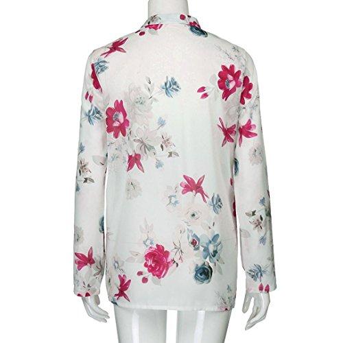La Longues Manches Blouse Plus VJGOAL Soie Imprimer Taille Pull Poche De en Femmes Mousseline Bleu V Hauts Blanc Mode Floral Tops Chemise Neck OpHHStW6