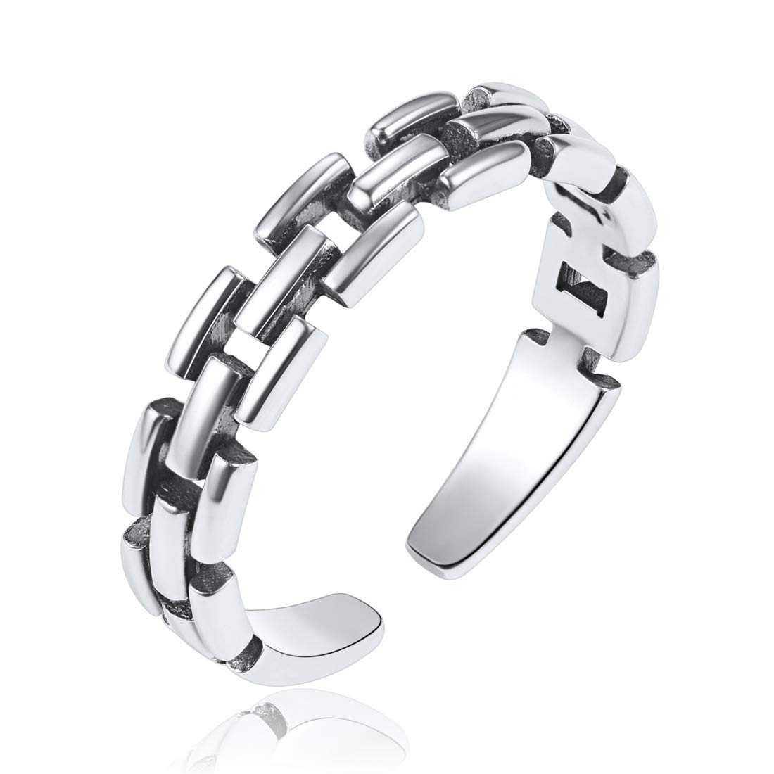 ChicSilver 925 Sterling Silver Stackable Rings Square Open Adjustable Cuff Wide Band Ring for Women Men