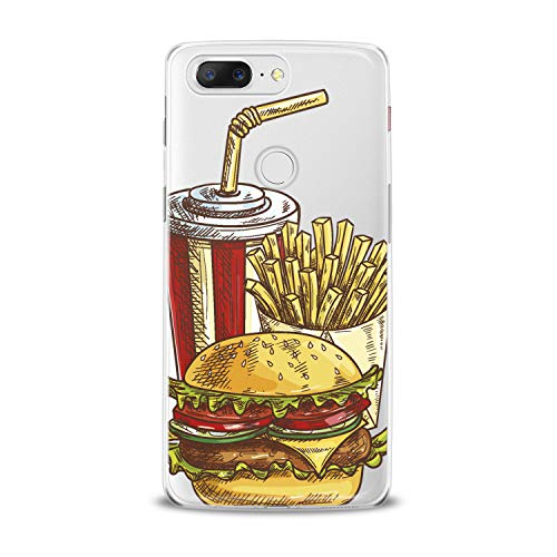 Lex Altern TPU Case for OnePlus 7 Pro 6T 6 2019 5T 5 2017 One+ 3 1+ Tasty Food Clear Potatoes Pattern Cover Soft Silicone 2018 Print Protective Burger Cola Transparent Kids Girls Ladies Women Top ()