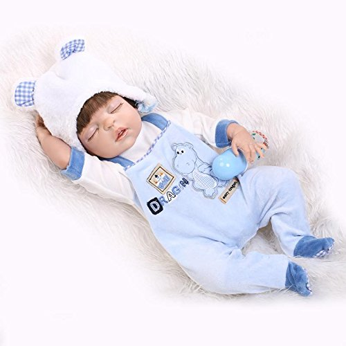 Nicery 人形 リボーンベビードールハードシミュレーションシリコーンビニール22インチの55センチメートル磁気口リアルな目を閉じたとかわいい防水子供のおもちゃ青いドレス Reborn Baby Doll Christmas Gift   B01IA8GLEC