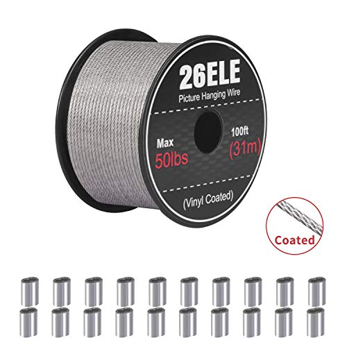 26ELE Picture Hanging Wire 50lb, Heavy Duty Stainless Steel Wire Rope for Hanging Picture Frame Mirror and Wall Art…