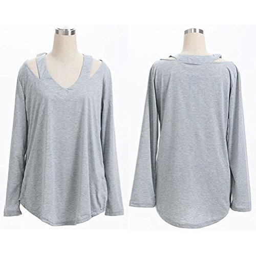 Zhhlinyuan Casual Women's T shirts Special Shoulder Style Simple Cozy Tops for Fashion Señoras Gray