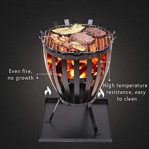 HLWAWA Feu extérieur Grand Feu de Joie à Bois Charbon Patio Grill à l'extérieur Firepit Grill Charcoal Smokeless Grill avec écran Spark Poker et Housse de Foyer Noir
