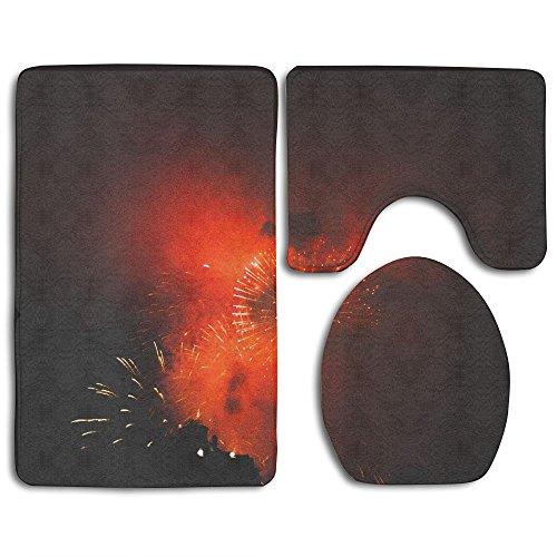 Fireworks Bath Mat Design Non-Slip 3 Piece Bathroom Mat Bathroom Rugs/Contour Mat/Toilet - Strange July Holidays In