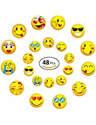 GEORLD Wafer Paper Edible Emoji Cupcake Topper Birthday Party Cake Decoration DIY Emoji Lollipop,48 Counts,Mixed by Two Size