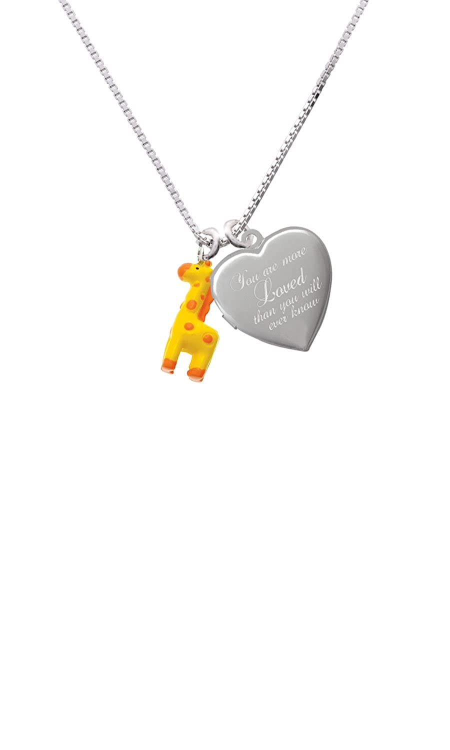 Resin Yellow Geronimo the Giraffe Custom Engraved You are more Loved Heart Locket Necklace