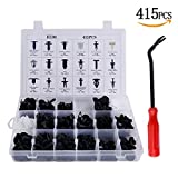 Uolor 415 Pcs Push Retainer Kit with Fastener Remover, Auto Push Pin Rivet Trim Clip Panel Body Interior Assortment Set Fits for GM Ford Toyota Honda Chrysler