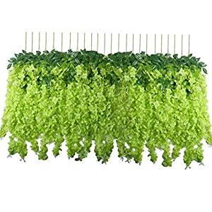 Gatton 24 Pack 3.6 Feet/Piece Artificial Wisteria Flowers Fake Wisteria Vine Hanging Garland Silk Long Bush Flowers Home Party ding Decor (Green) | Model WDDNG - 556 | 24 Pack 72