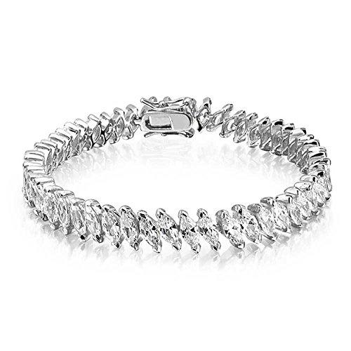 Bling Jewelry Bridal Wedding Prom Marquise Cut Cubic Zirconia CZ Tennis Bracelet for Women Girlfriend Silver Plated Brass