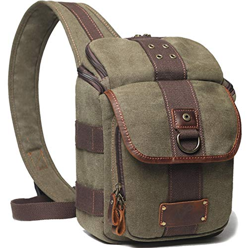 Camera Bag Sling DSLR/SLR/Mirrorless Case Crossbody Waterproof with Canon, Nikon, Sony(Army Green)