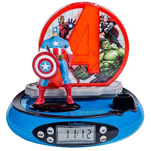 Marvel RP500AV Marvel Radio Despertador con Proyección de la Hora, Rojo/Azul