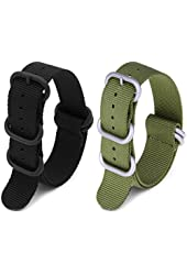 2pc 18mm Nato Nylon Strap Black , Army Green Replacement Watch Strap Band