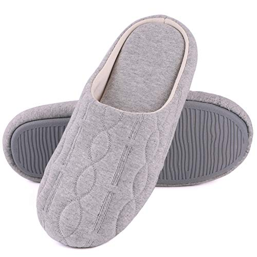 Women's Comfort Quilted Cotton Memory Foam House Slippers with Elegant Embroidery (Medium / 7-8 B(M) US, Gray)