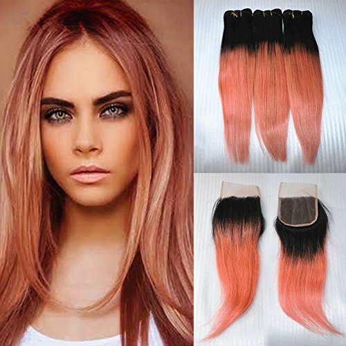Ruma Hair Two Tone 1B/Rose Gold Dark Root Pink Ombre Straight Brazilian Virgin Human Hair Extensions 3 Bundles With 4x4'' Free Part Lace Top Closure 4Pcs Lot (8 with 10 10 10)