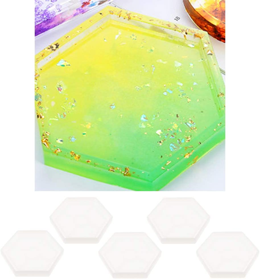 5Pcs//Set dailymall Hexagon Silicone Molds Epoxy Resin Moulds Coaster Condensation Edge Resin Casting Kit Silicone Moulds for Resin DIY Art Supplies