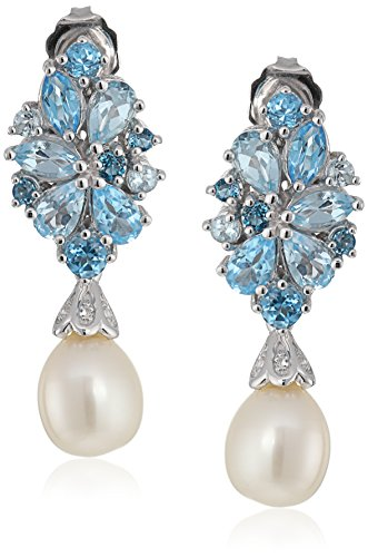 Sterling Silver Freshwater Cultured Pearls with Mixed Blue Topaz Clustered Drop Earrings by Amazon Collection