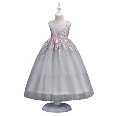 Wulide Wulide Kinder Mädchen Prinzessin Kleid Festkleid mit Blumen ...