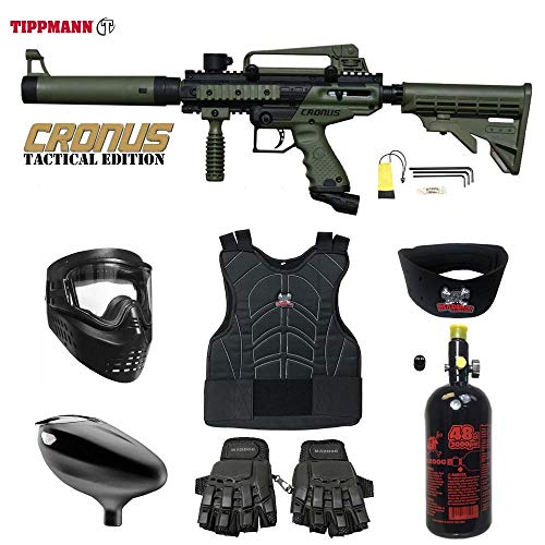 us Tactical Beginner Protective HPA Paintball Gun Package - Black/Olive ()