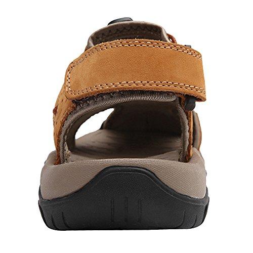 rismart Herren Closed Zu Draussen Sport Trekking Schuhe Leder Sandalen SN1505(Vortrag,EU42.5)
