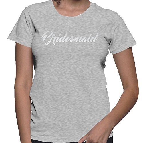 T-shirt Bridesmaid Womens Light (HAASE UNLIMITED Women's Silver Bridesmaid T-Shirt (Light Gray, X-Large))