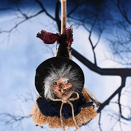 DOSOMI DIY Halloween Hanging Witch Broomstick Decoration Wall Door Porch Tree Decorative Props Ornaments Festival Party Supplies]()
