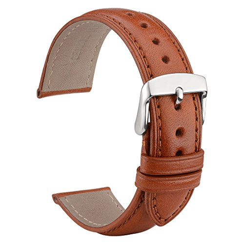 WOCCI Untextured Leather Watch Strap, 20mm Watch Bands,Replacement Bracelet (Red Brown with Tone on Tone Seam)