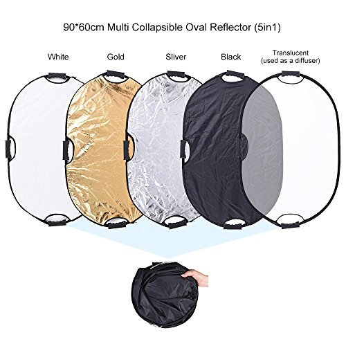 Andoer 24''x36''/ 60x90cm 5 in 1 Oval Collapsible Multi Reflector Portable Photo Photography Studio Video Lighting Diffuser with Grip and Carrying Case