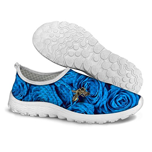 FOR U DESIGNS Stylish Rose Floral Print Mesh Breathable Lightweight Slip On Women & Men Running Shoes Blue sHGw2b7VC