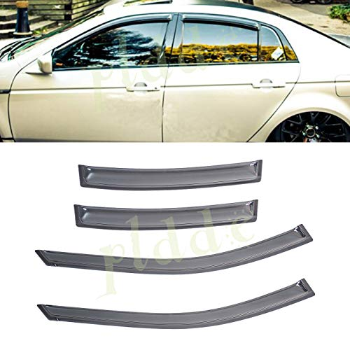 PLDDE 4pcs For 04-08 Acura TL Front+Rear JDM Smoke Sun/Rain Guard Outside Mount Tape-On Window Visors ()