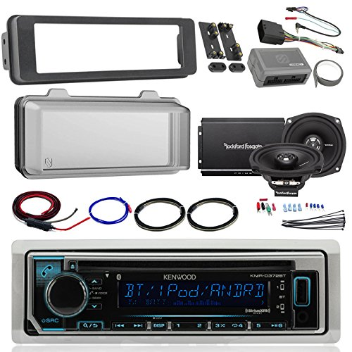 Harley Audio Package of Kenwood KMRD372BT Bluetooth CD MP3 Stereo Receiver Bundle Combo with Dash Trim Kit + Radio Cover + 2X 5.25 Speaker + 2 Channel Amplifier W/Install Kit + Handlebar Conroller