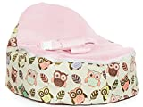 Chibebe Hoot Snuggle Pod Baby Beanbag Chair With Double Stitched Cover - Removable Inner Filling Bag For Beans With Seat - Durable Nylon Blend Material - (Pink)