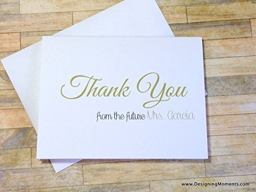 personalized bridal shower thank you note cards gold from the future mrs cards