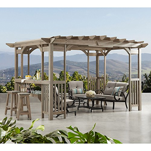 MM Cedar Pergola Gazebo with Bar Counter and Sunshade in Timber Gray Stain 12' x...