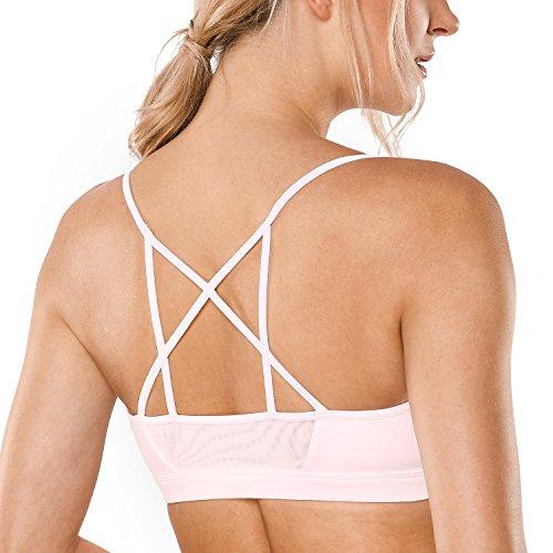 Crz Yoga Womens Strappy Non Wired Mesh Back Yoga Sports Bra Pink L